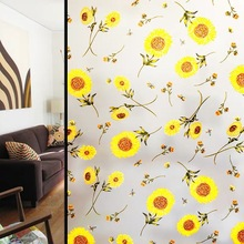 Stained Sun Flower Privacy Window Film Glass Stickers Frosted transparent opaque bathroom Static Glass Film Home Decor Decals 3d square matt window glass film bathroom stickers static vinyl decals visual light explosion proof grilles paper 3 size
