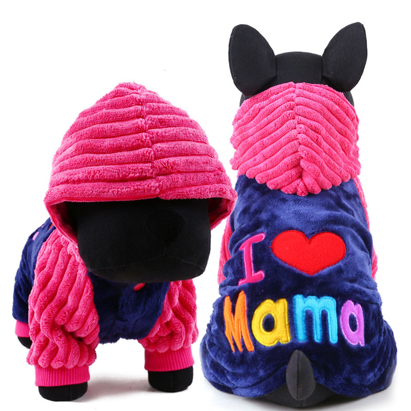 Dog Puppy Sweater Hoodie Clothing I love Papa And Mama Winter Pet Dog Clothes