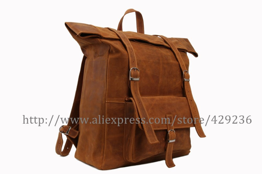 Vintage Genuine Leather Men's Backpack Retro Travelling School Book MG31 - Liang Jeny's store