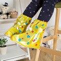 2016 Estudante chuva sapato cobre sapato desgaste à prova d' água elástica impressão emoticon criança sapato chuva cobre longo-cano tipo