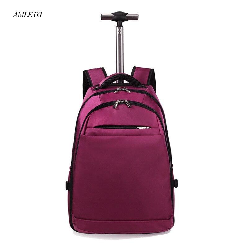 Hommes et femmes couleur unie Oxford tissu embarquement sac à dos sac de voyage Trolley bagages affaires ordinateur sac à dos valise 20 pouces