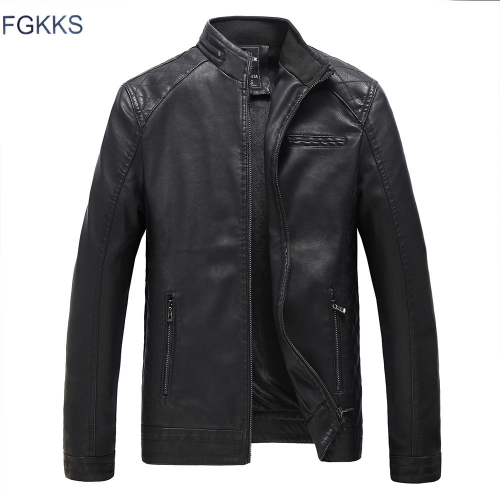 Fgkks Model Bike Leather-based Jackets Males Autumn And Winter Leather-based Clothes Males Leather-based Jackets Male Enterprise Informal Coats