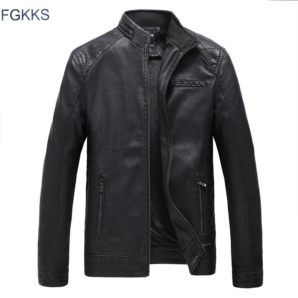 Fgkks брендовые мотоциклетные Кожаные куртки Для мужчин осень-зима кожа Костюмы Для мужчин Кожаные куртки мужской Бизнес повседневные пальто