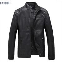 FGKKS 2017 New Autumn Winter Leather Jackets Men Fashion Leather Clothing Male Casual Coats Brand Clothing