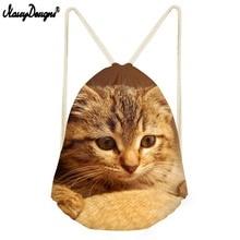 Noisydesigns Small Drawstring Bag Women Custom Logo For Woman Girls Boys Drawstring Backpack Cat Printing Bagback