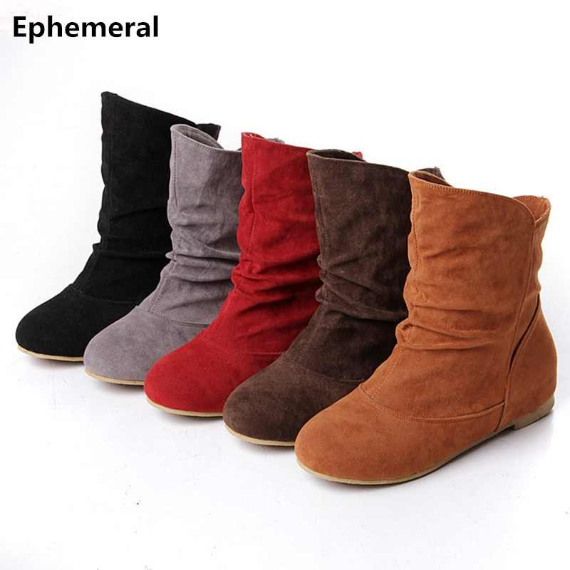 Ladies No Heels Flat Boots Short Ankle