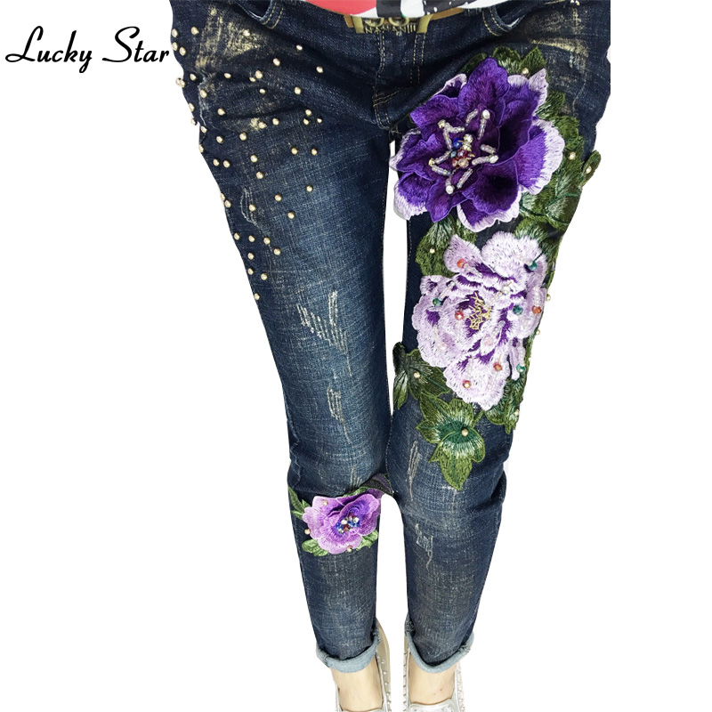 Flowers Embroidered Boyfriend Street Pattern Womens 3D Flowers Embroidery Beading Pencil Denim Stretch Jeans D331