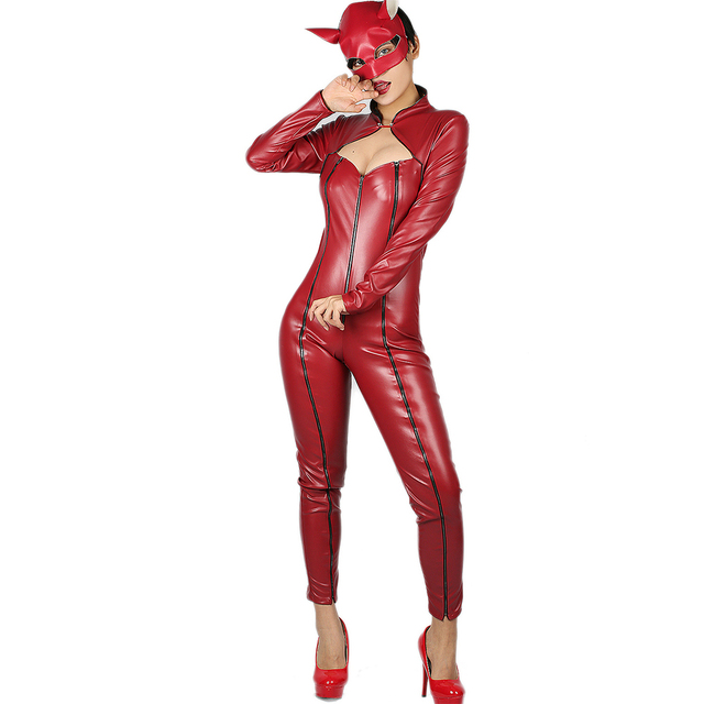 Coslive Anne Takamaki Costume Deluxe Red PU Catsuit Eye Mask Trendy Womens Cosplay Bodysuit For Halloween 1