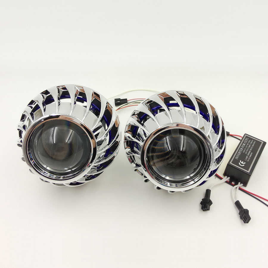 Retrofit 2 5inch Bi xenon HID Projector lens Headlight with Spirals Cover shrouds Rear angel eyes
