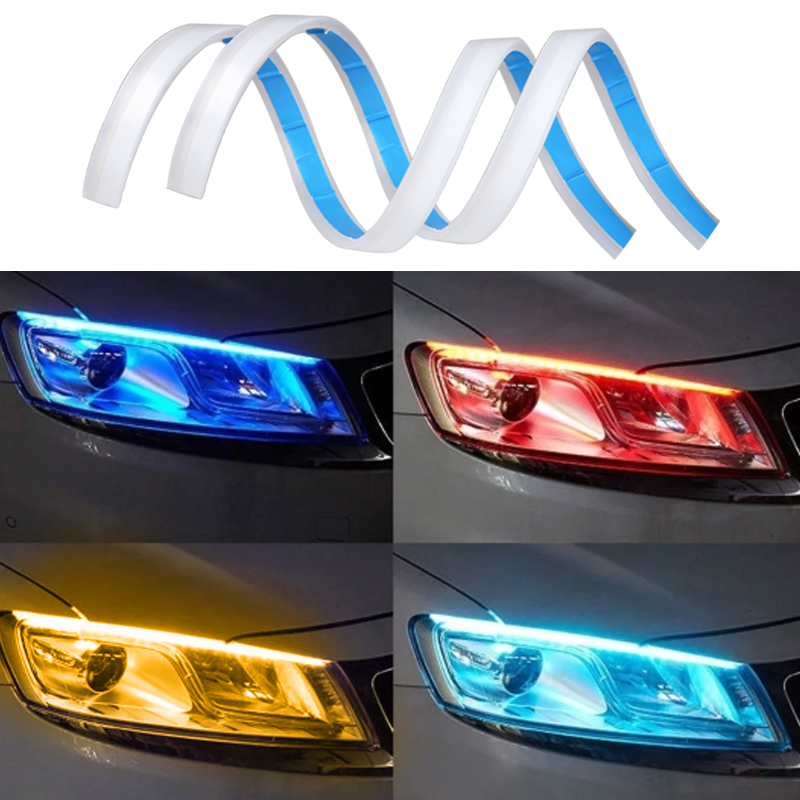 2Pcs Set 30cm 45cm 60cm Car Led Daytime Running Lights DRL Turn Signal Strip Headlight Assembly Auto Lamps Car Styling in Car Light Assembly from Automobiles Motorcycles