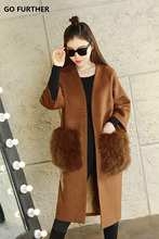 GO FURTHER warm lining autumn  jacket women vintage 2017 winter long wool coat designer fur pocket luxury 6XL
