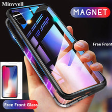 Magnetic Adsorption Case for iPhone XR XS MAX X 8 Plus 7 6S + Metal Tempered Glass Back Cover for iPhone 7 6 6S Plus Case 360 magnetic adsorption case for iphone xr xs max x 8 plus 7 full cover front back tempered glass for iphone 8 7 6 6s plus case