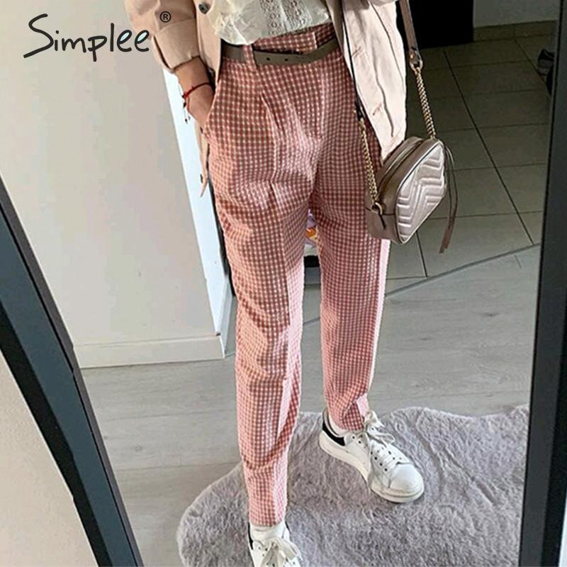 Simplee Pink plaid casual   pants   women 2019 Summer vintage work   pants     capris   female Straight office ladies British style trousers