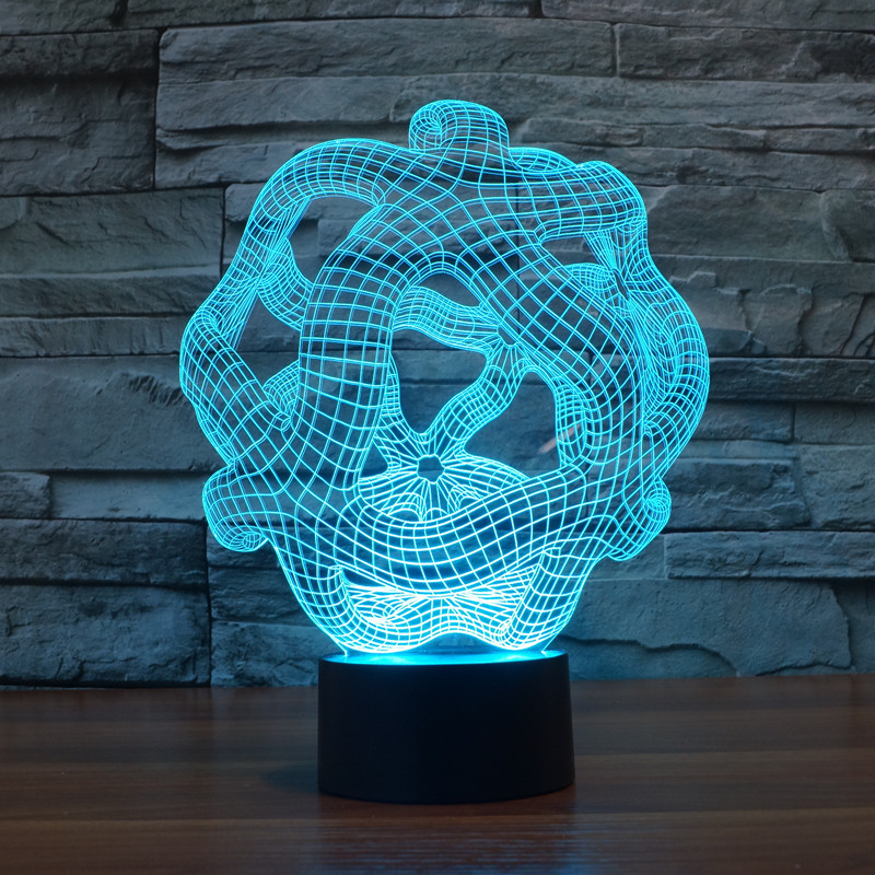new abstract 18 3D lights colorful touch LED visual light gift atmosphere desk lamp
