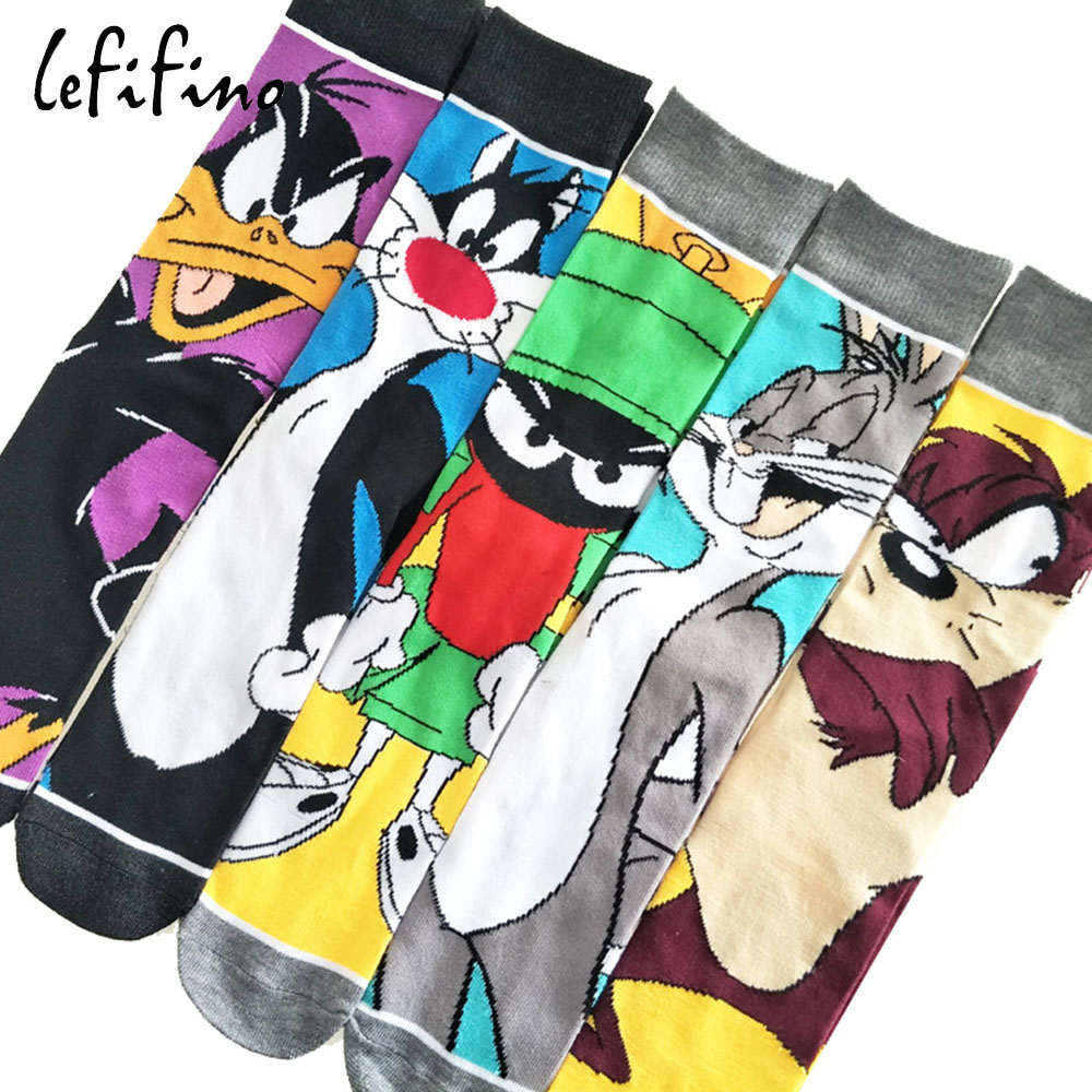 Cute Cartoon Men Cotton Socks Looney Tunes Funny Tweety Bunny Duck Long Socks Teen Male Crazy Cool Funky Socks Amazing Fancy Sox
