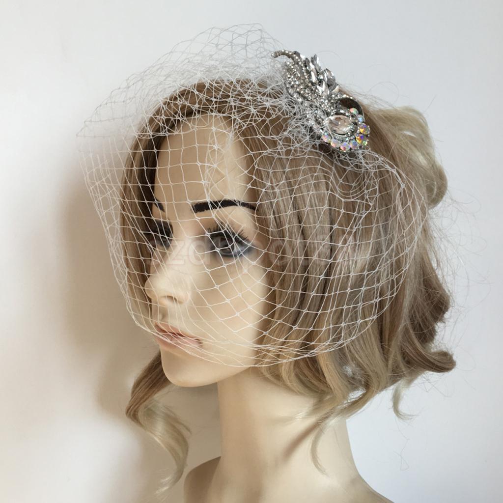 Wedding Rhinestone Birdcage Veil with Comb White