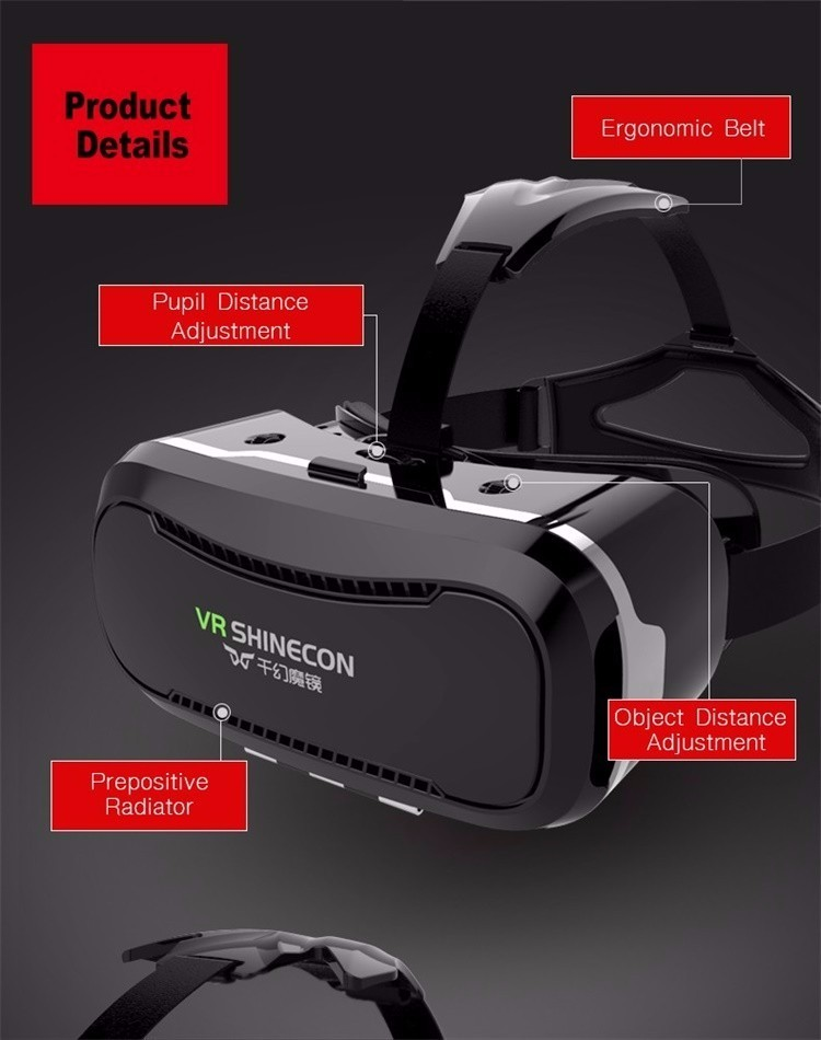 VR Shinecon 2.0 Google Cardboard VR BOX 2.0 Virtual Reality goggles VR 3D Glasses Immersive for 4.5-6.0 inch smartphones 20