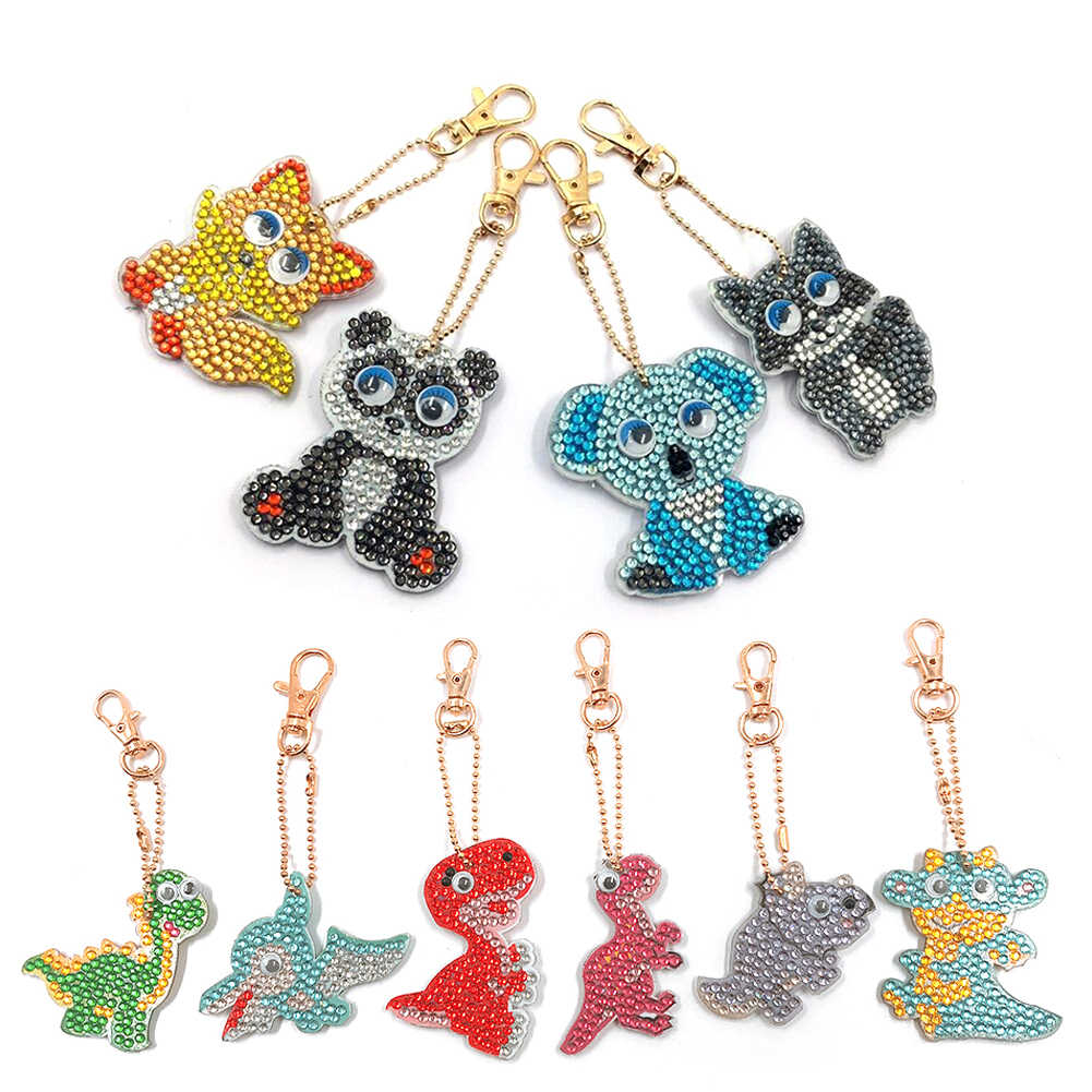 1pc DIY Keychain Handmade Cartoon Dinosaur Diamond Painting Full Drill Embroidery Cross Stitch Mosaic Rhinestone Decor Pendant