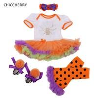 Rhinestone Spider Girls Halloween Outfits Lace Tutu Dress Leg Warmers Shoes Headband Newborn Tutu Sets Baby