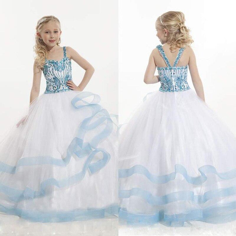 White/Blue Ruffles prom   dresses   for little Children long   flower     girl     dresses   2015 Luxury crystal pageant   dresses   for   girls   glitz