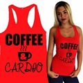 COFFEE & CARDIO Women Yoga Tank GYM Fitness Clothes Squat Workout Cute Funny Crop Top Shirt