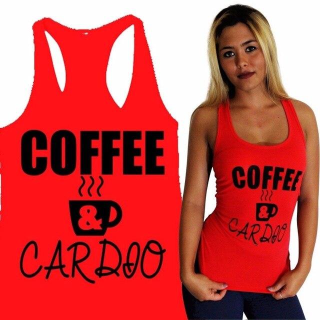 e12a70e0c1b3b COFFEE   CARDIO Women Yoga Tank GYM Fitness Clothes Squat Workout Cute Funny  Top Tees Shirt