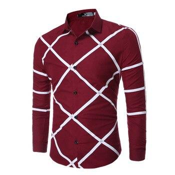 Fashion Mens Slim Cotton Shirt White Irregular Stripes Shirts Long Sleeve Shirt Summer Casual Shirts C3068007