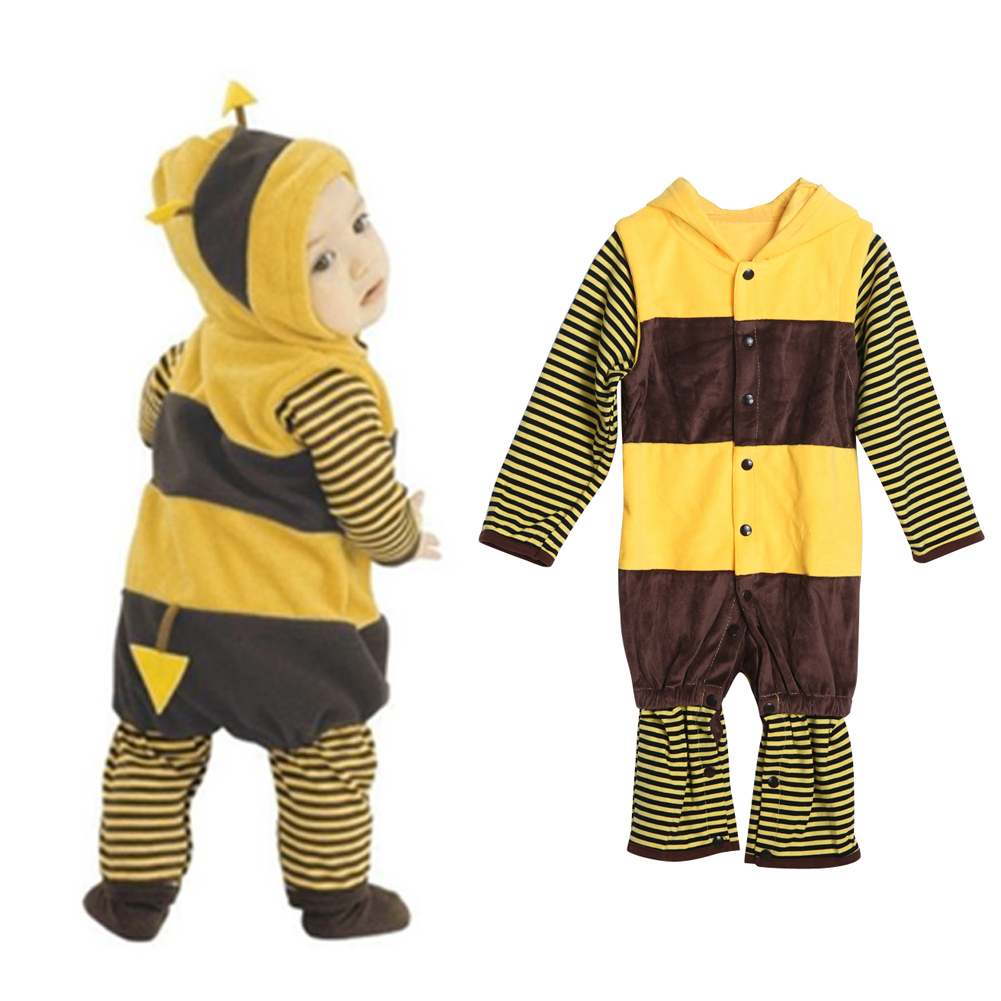 Winter Baby Kids Cute Bee Hoodie Rompers Striped Long Sleeve Fleece Boys Girls Jumpsuit Warm One-Piece Outfits 0-36M infant toddler baby kids boys girls pocket jumpsuit long sleeve rompers hats kids warm outfits set 0 24m