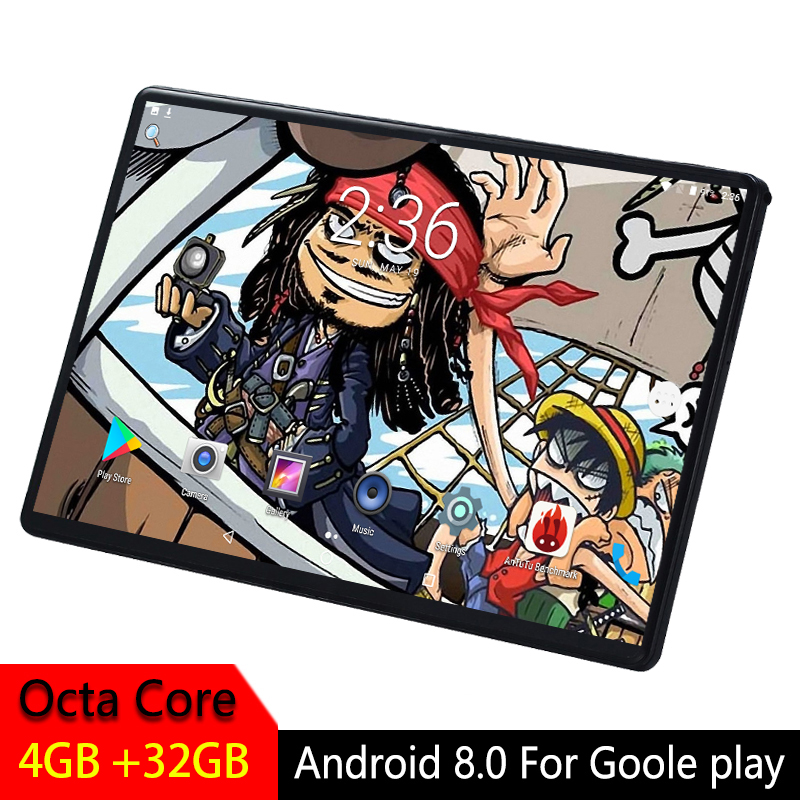 Android Tablet Kids 10 Inch 2.5D Tempered Glass Screen Octa Core Phone SIM Card WIFI GPS RAM 4GB ROM 32GB Tablet PC Android 8.0