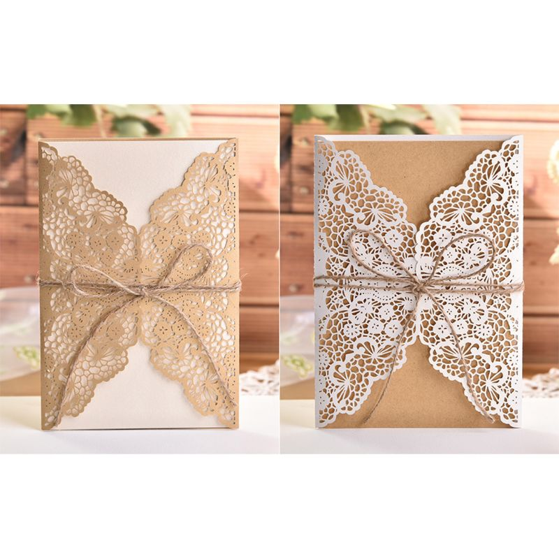 50pcs Wedding Invitation Cards Laser Cut Party Invitations with Brown Kraft Card Inserts for Wedding Baby Shower Birthday Party