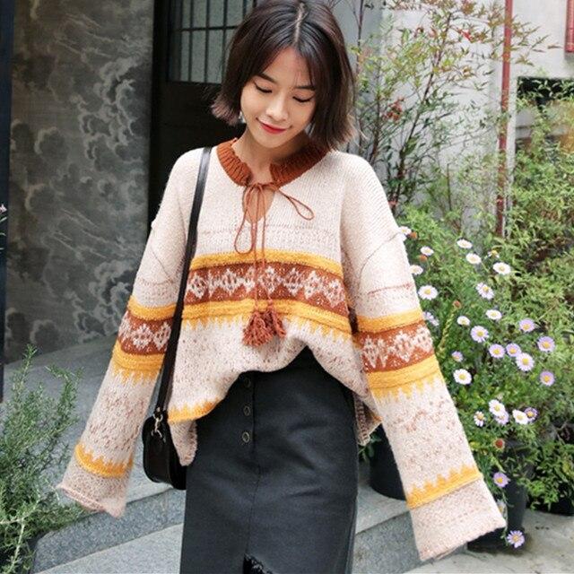 Негабаритных Свитера Женщин 2017 Весна Осень Корейской Моды Этнические Узоры Кружева до Плюс Размер Пуловеры Трикотажные Свободные Свитера