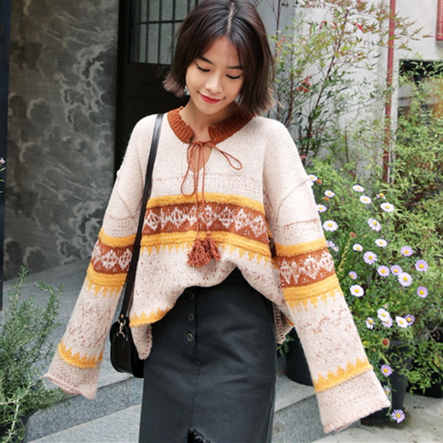 Oversized Sweater Women 2017 Spring Autumn Korean Fashion Ethnic Patterns Lace-up Plus Size Pullovers Knitted Loose Sweater