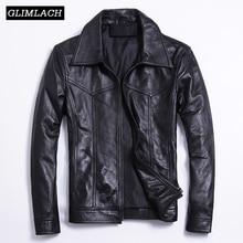Casual Motorcycle Leather Jackets Men Slim Black Genuine Leather Jacket Coats Large Size 5XL Luxury Real Sheepskin Riding Coat
