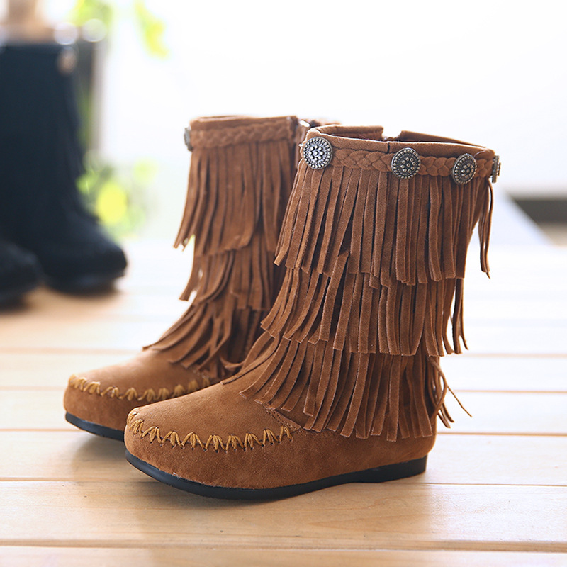 fashion genuine leather fringe boots with fur children