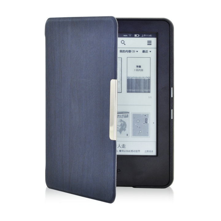 Bark pattern leather cover case for Amazon 2014 new kindle touch screen kindle 7 7th e-Books 200pcs+screen protector+stylus