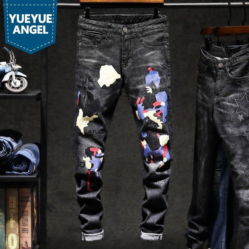 Pant Slim Kot Jean Di Pantalon Moda Jeans Lunghezza Degli Streetwear Fit  Uomini Stampa 1 Pantaloni Man Motore Dritto ... 7c6405c19c31