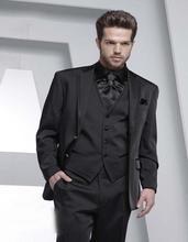 New Arrival Handsome Two Button Black Groom Tuxedos Groomsmen Men's Wedding Prom Suits Bridegroom (Jacket+Pants+Vest+Tie) K:829