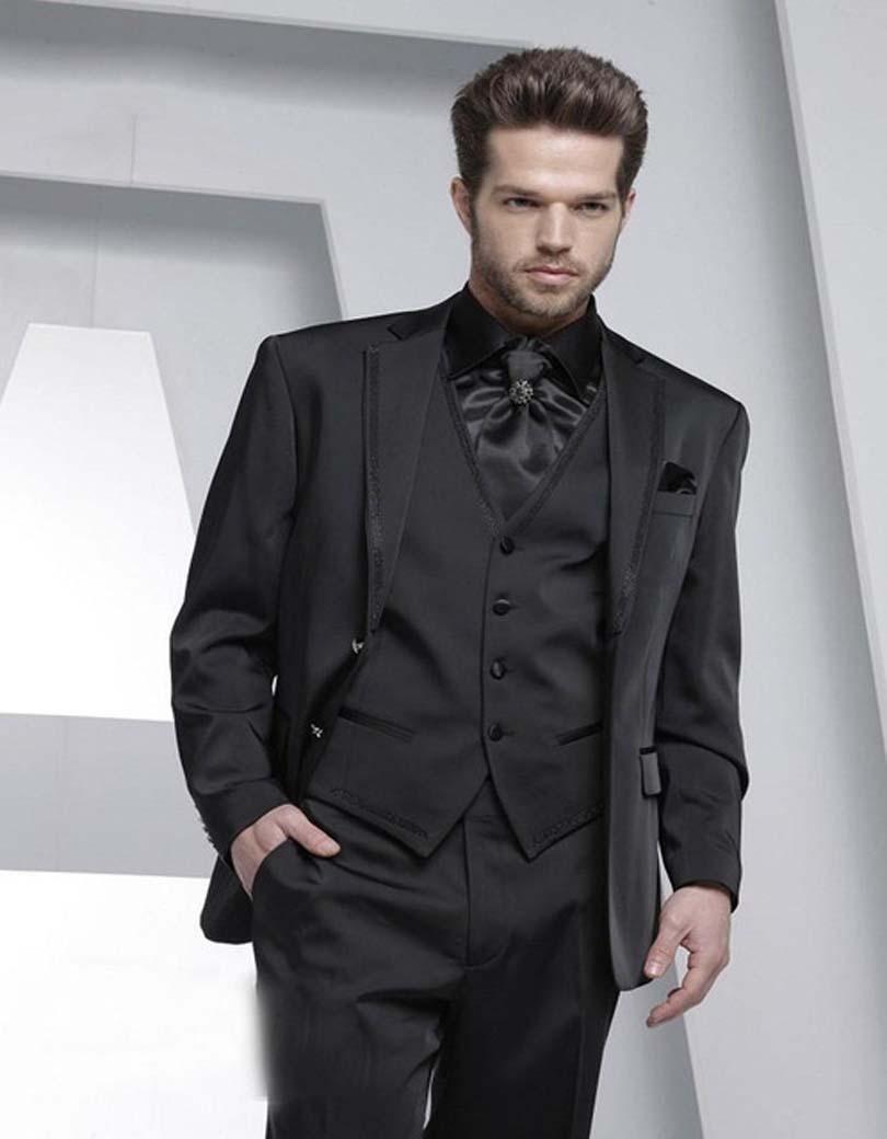 Nueva llegada guapos dos botones negro novio Esmoquin groomsmen hombres boda  prom Trajes novio (chaqueta + Pantalones + + chaleco + lazo) k  829 34864a7cfba