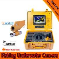 (1 комплект) 50 м кабель подводная рыболовная камера DVR Функция HD 1080 P 12 Белый светодиодный рыболокатор Водонепроницаемая камера с картой 8 Гб