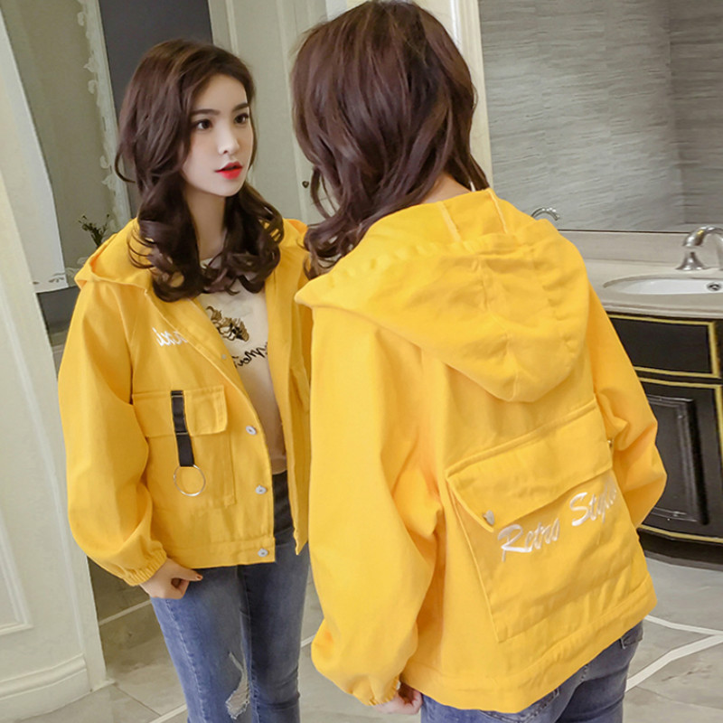 2019 spring autumn coat women Korean tide Embroidery simplicity loose Harajuku wild student short paragraph denim jacket female