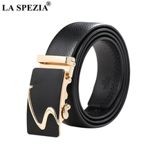 LA SPEZIA Genuine Leather Belt Men Automatic Black Male Real Cow Brand Formal Business Classic Gold Buckle