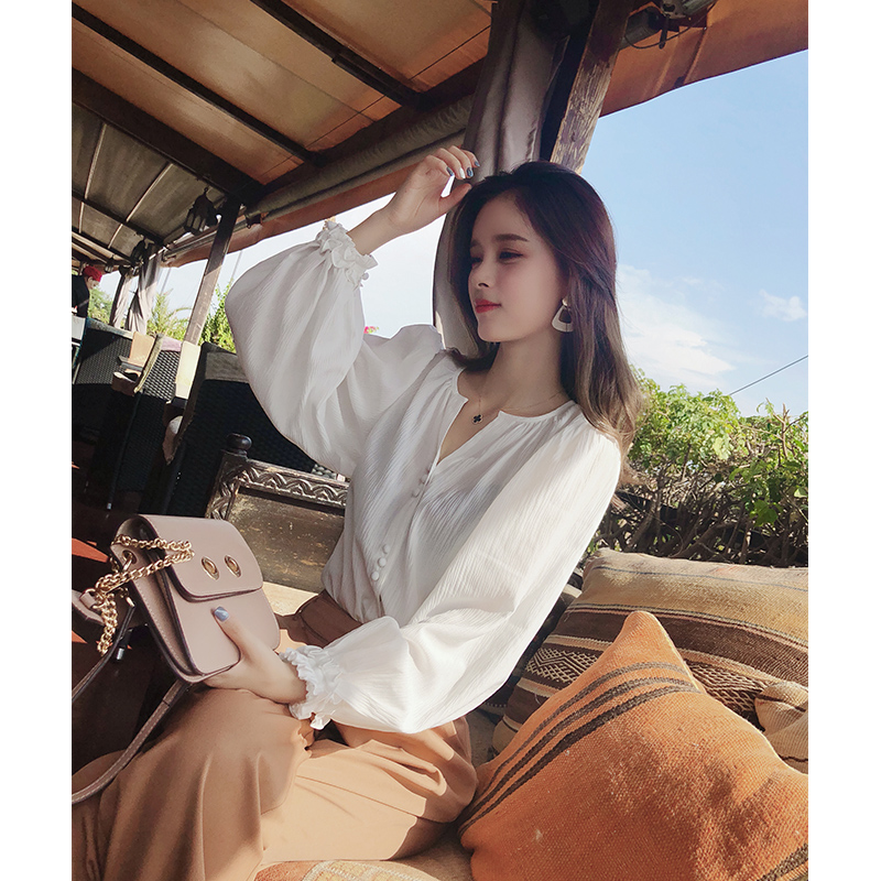 2019 MISHOW Autumn Chic Style Daily Causal Blouse Women  White Microscopic Lantern Sleeve Sexy Blouse Tops MX18C4590