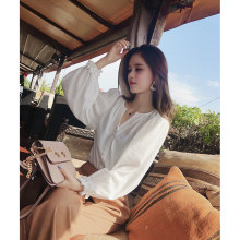 2019 MISHOW Autumn chic style daily causal blouse women white microscopic Lantern sleeve sexy blouse tops MX18C4590(China)