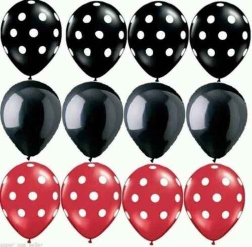 12Pc Lieveheersbeestje Zwart Rood Wit Spot Latex Ballonnen Stip Golf Punt Globos Mickey Minnie Verjaardag Wedding Party Decor levert