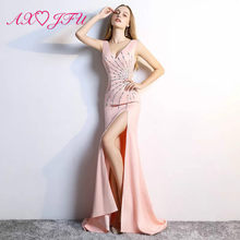 AXJFU Sexy pink beading crystal mermaid V-neck autumn new slim bag hip stretch drill club sparkly performance evening dress(China)