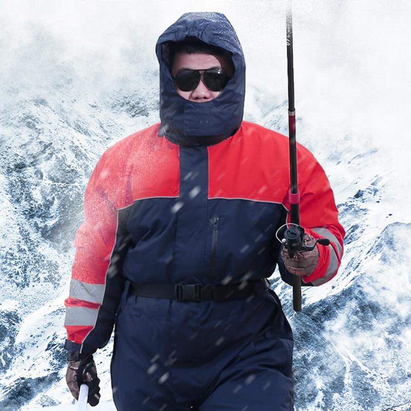 Prix pour Hiver plus chaud Vêtements de Plein Air Étanche Résistant Au Froid De Pêche Ski Vestes Pantalon Siamois Coton Peigné Vêtements