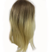 Full Shine Hair Piece Extensions Human Hair Ombre Remy Hair Topper Color #10 Golden Brown Fading to #613 Blond Human Hair Topper