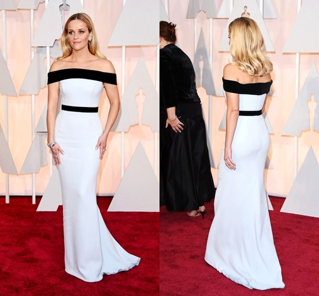 Simple black white mermaid celebrity red carpet dress strapless long gowns reese witherspoon for - Black and white red carpet dresses ...