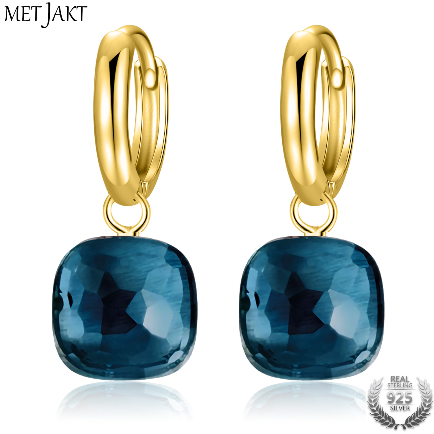 MetJakt Classic London Blue Topaz Earrings Solid Gold Color 925 Sterling Silver Elegant Earring for Lady
