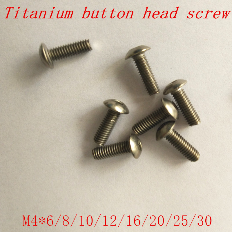 50pcs ISO7380 <font><b>M4</b></font> titanium button head screw <font><b>m4</b></font>*6/8/10/12/16/20/25/<font><b>30</b></font> titanium hex socket round head machine screw image